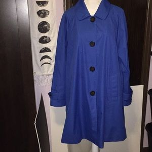 Dennis Basso blue trench coat. Size XL.